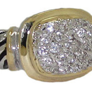 Cable ring 2 two tone 18 kt gold white gold plate
